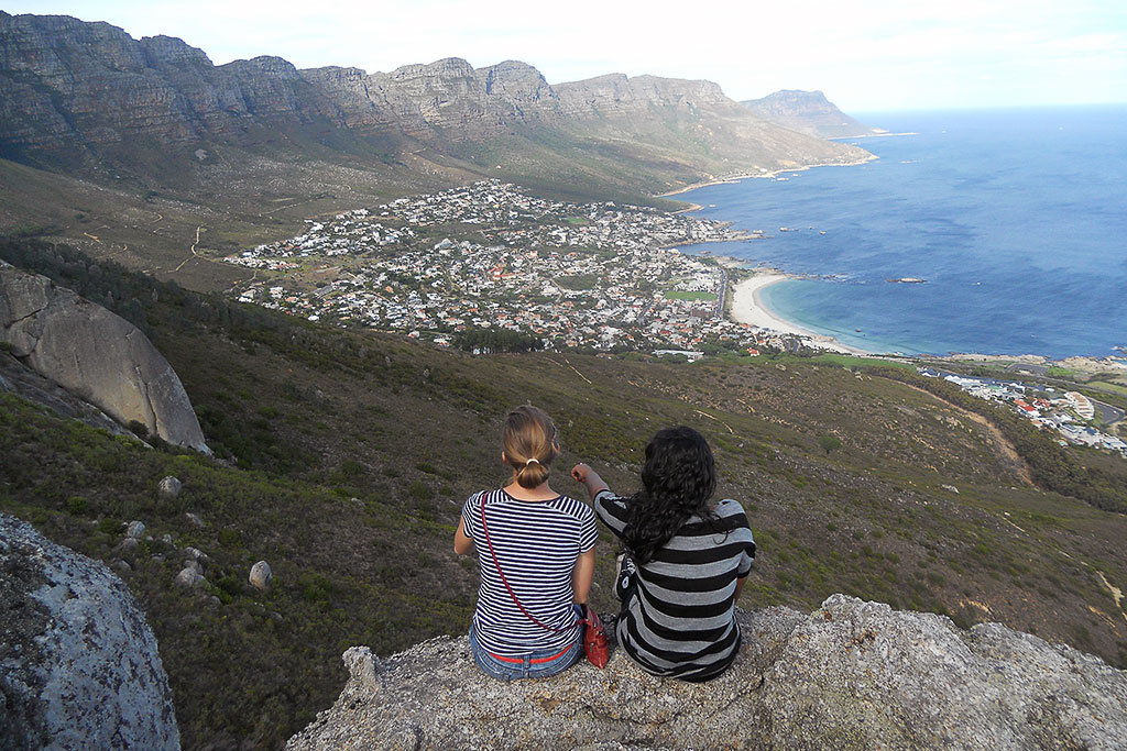 Students overlooking Camps Bay in South Africa.