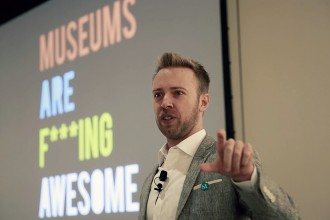 Nick Gray, founder of MuseumHack, speaking at the Skift Global Forum in New York City on October 9, 2014.