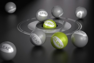Many spheres over black background  with target in the center on green ball in the center. Marketing concept image, converting leads into client or customers.