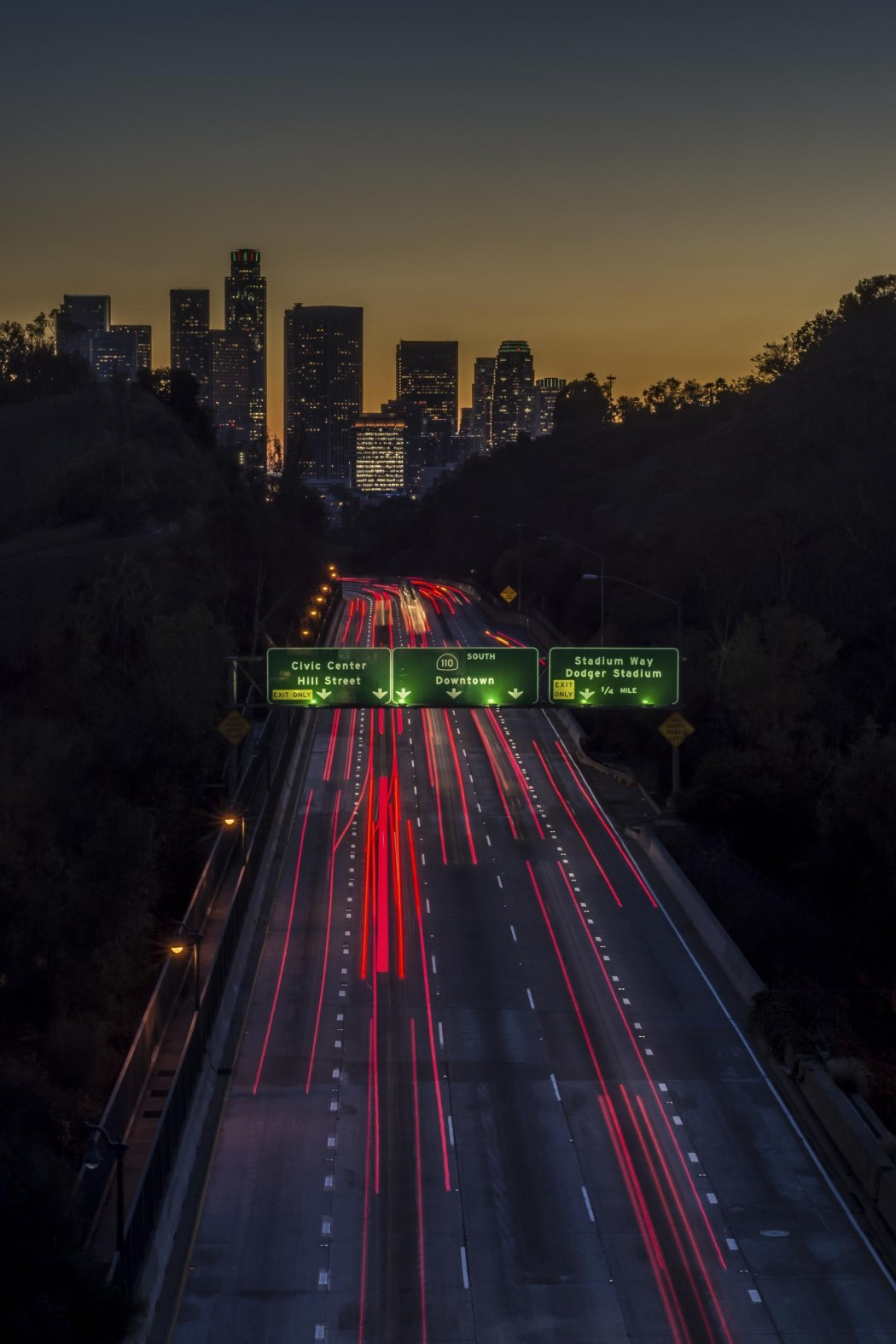 Trail lights of the traffic on the 101 freeway leading to downtown Los Angeles