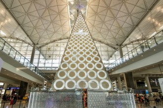 A Swarovski Christmas tree shines at Hong Kong International Airport.