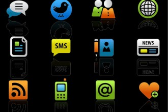 Colored new media icons on black