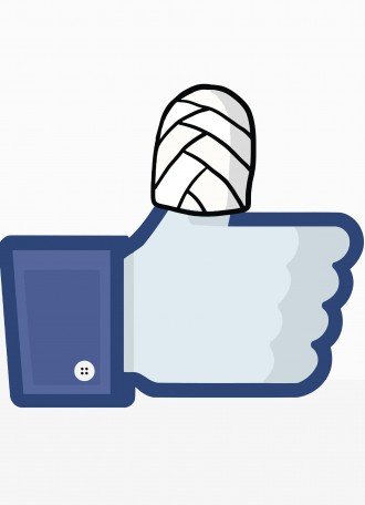 Facebook's 'like' finger is injured with plaster