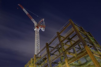 modern construction site at night