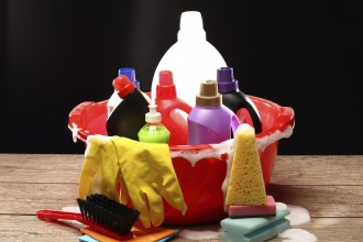 Household chemical goods for cleaning on black