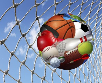 Sports activity  success concept and fitness activities through the playing of  a team or individual sport with aball made from a group of game balls and equipment as basketball football soccer bowling scoring in a net.