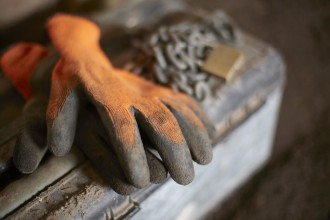 Builders Protective Gloves On Toolbox