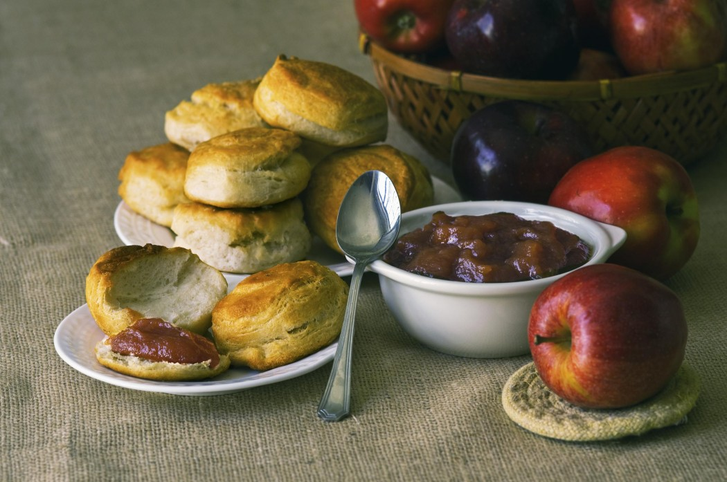 Breakfast with homemade biscuits and apple butter