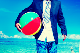 Businessman Business Travel Summer Beach Vacation Concept