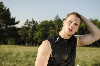 Man Athlete Sweating after hard workout