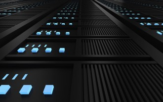 close up of tower of servers