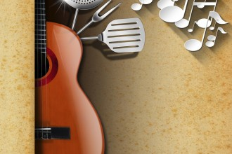 Acoustic guitar with brown stained paper, kitchen utensils and white musical notes. Template for food menu and a musical event.