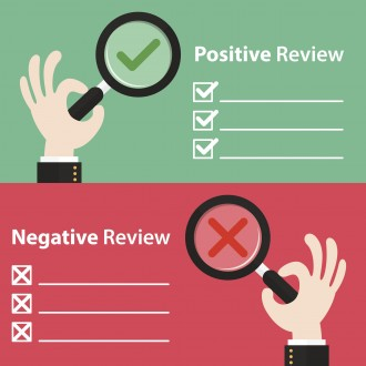 Business hand with right and wrong in magnifying glass background. Vector illustration of positive and negative review concept. Minimal and flat design