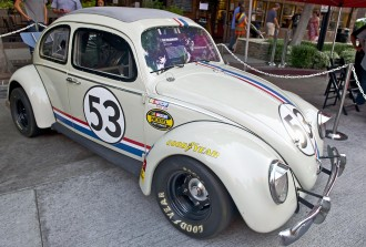"BURBANK/CALIFORNIA - JULY 26, 2014: 1961 Volkswagon Beetle ""Herbie"" from the movie ""The Love Bug"" on display at the Burbank Car Classic July 26, 2014, Burbank, California USA"