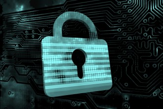 Cybersecurity blue padlock on black electronic circuit background
