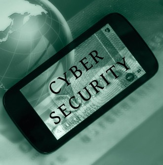 Cyberl security concept. Smartphone and cyber security wording. Blurred glass globe in the background.