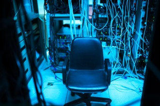 An Chair in the server room .