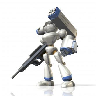 Combat robot on science fiction,equipped with a missile launcher.