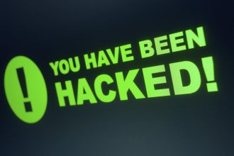 You have been hacked sign on LCD Screen
