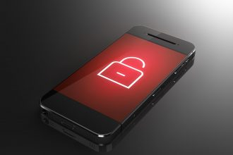 Smartphone with lock icon - security concept in 3D