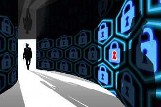A silhouette of a hacker with a black hat in a suit enters a hallway with walls textured with padlocks 3D illustration cybersecurity concept