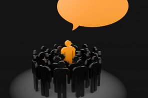 Leadership concept. Speaking out from the crowd