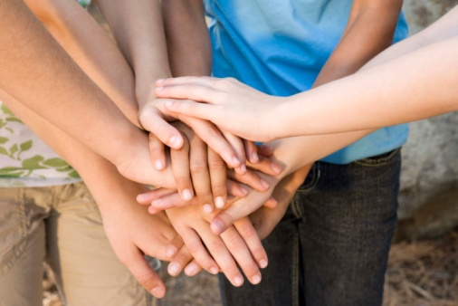 Hands in huddle