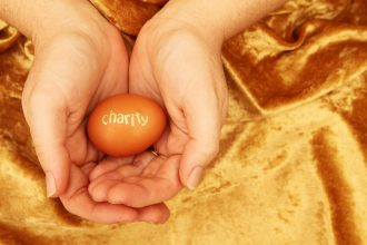 Egg with 'charity' on it in hands