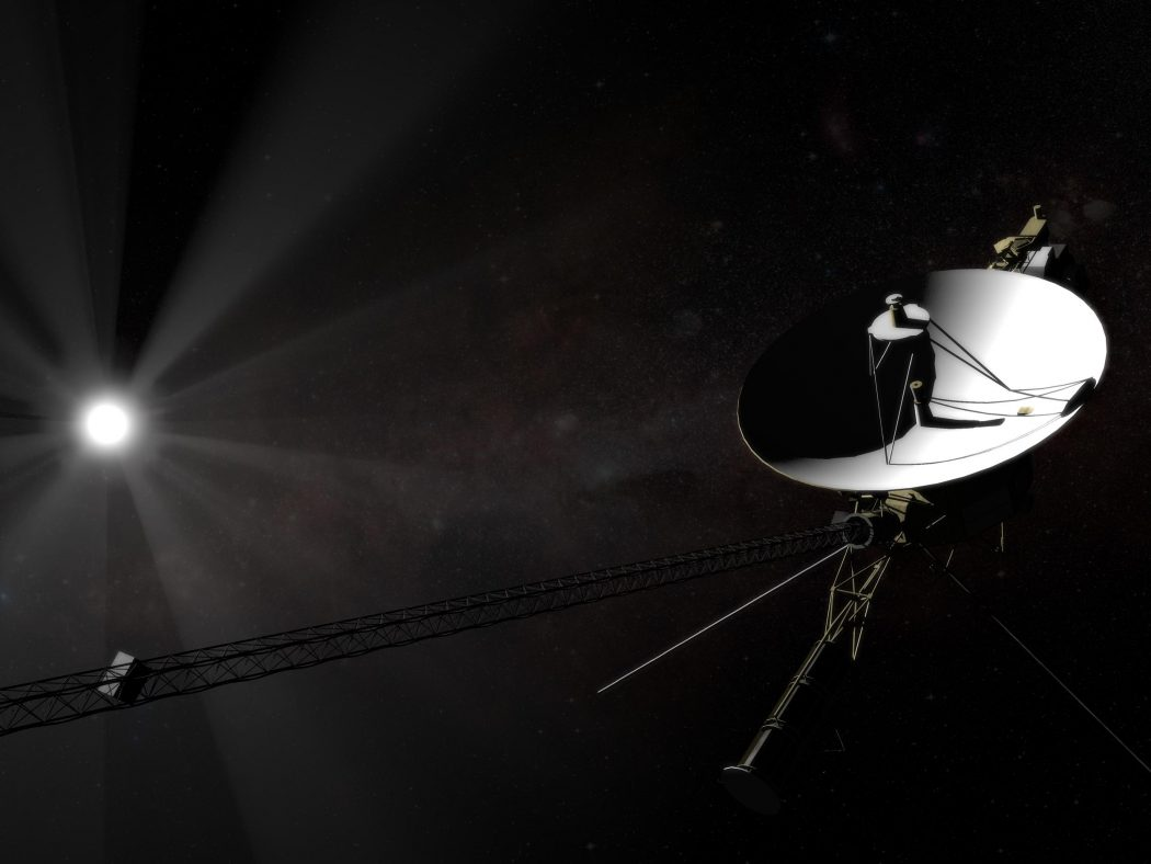 Voyager 1 leaving the solar system.