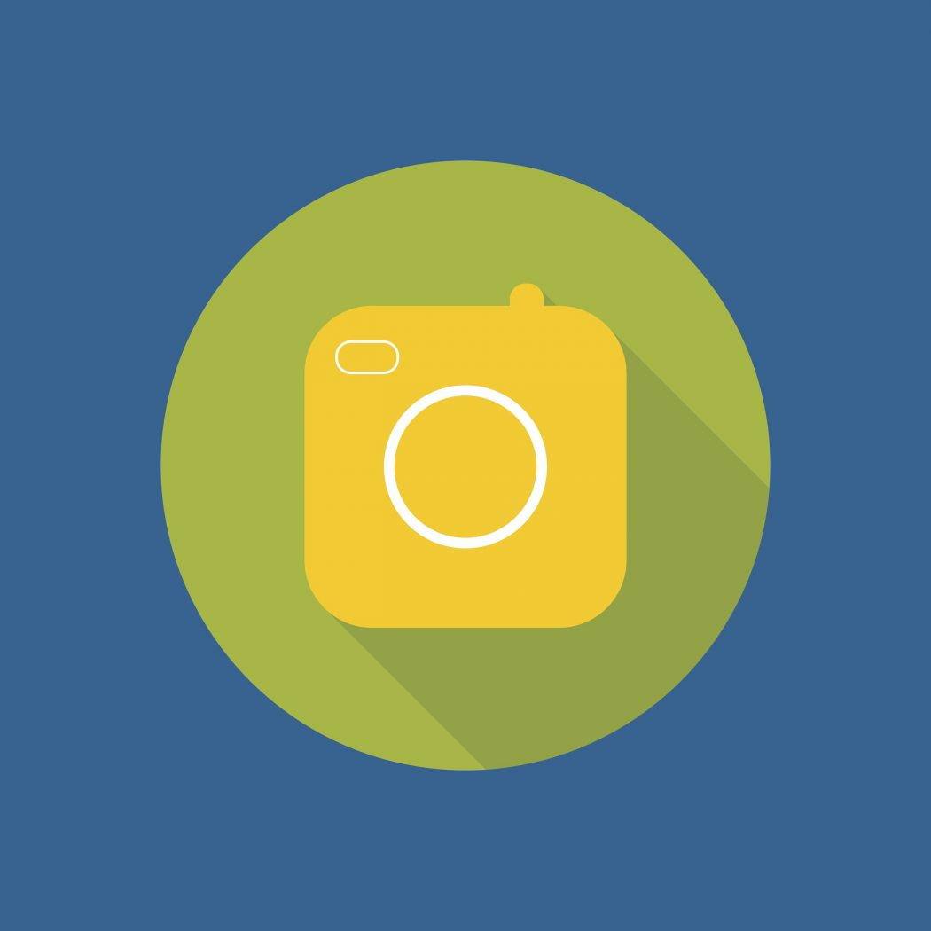 Icon of the old camera for mobile app. Instagram symbol.