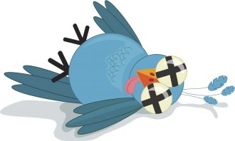 A cute, tongue-in-cheek, royalty free illustration of a dead or dazed twitter bird.