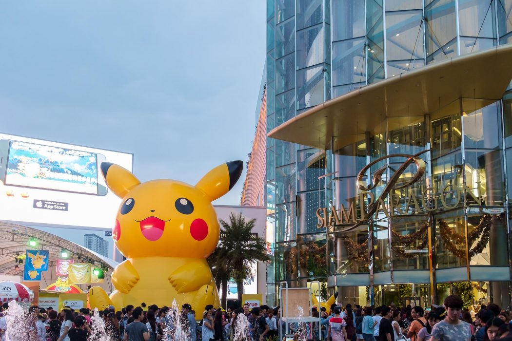 Bangkok - Jan. 11: Shoppers visit Siam Paragon mall and Pokemon Festival in the Siam Square area on Jan. 11, 2015 in Bangkok, Thailand. Siam Paragon is one of the world's largest malls.