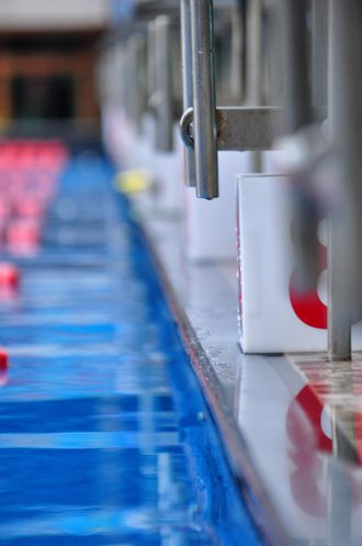 Olympic swimming pool start line