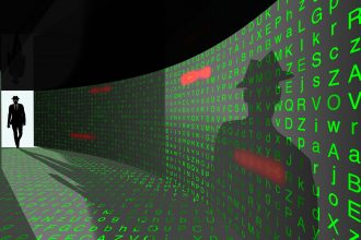 A silhouette of a hacker with a black hat in a suit enters a hallway with walls textured with random letters and common passwords 3D illustration cybersecurity concept