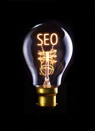 SEO concept in a filament lightbulb.